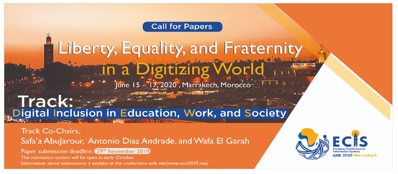 Submit Your Paper at ECIS 2020, Track: Digital Inclusion in Education, Work, and Society,